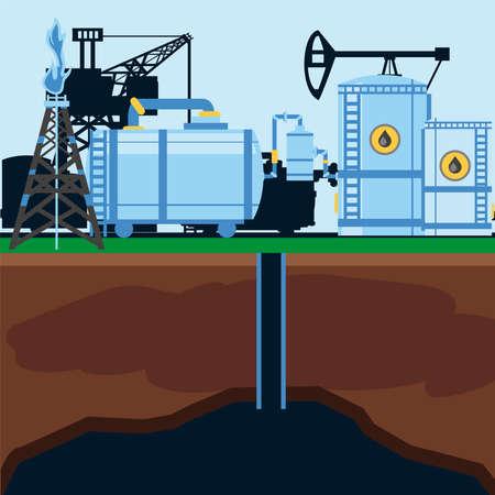 fracking refinery plant storage tank, industrial station pump vector illustration