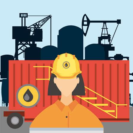 female worker fracking refinery tower, oil rig production vector illustration Vektorgrafik