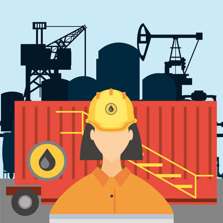 female worker fracking refinery tower, oil rig production vector illustration