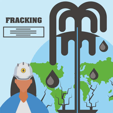 fracking female worker and oil industry extraction production world vector illustration