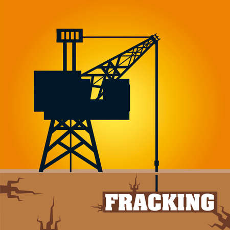 fracking tower with cabin and oil drill underground vector illustration