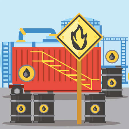 fracking container storage oil barrels with flammable substance sign vector illustration