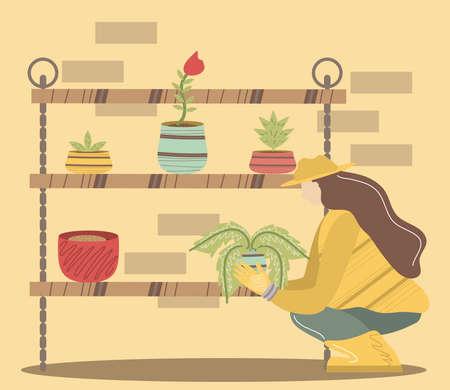 female gardener with plant shelves gardening tools flowers vector illustration