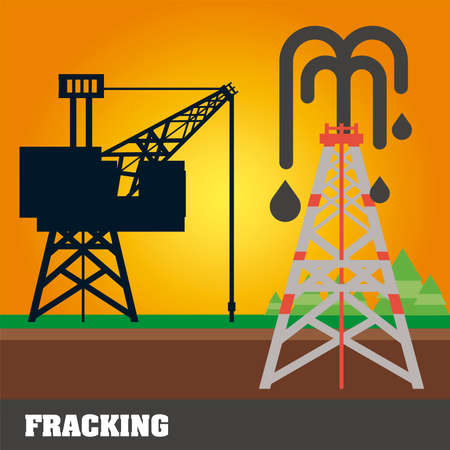 fracking refinery tower, oil rig extraction and production vector illustration