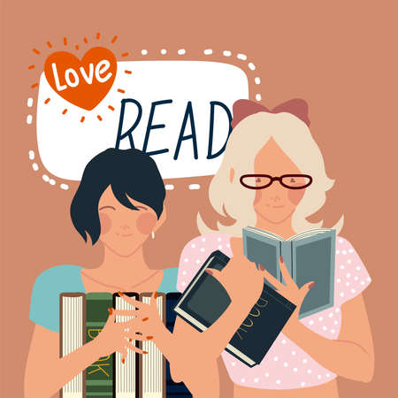love read book, cute women reading a books vector illustration