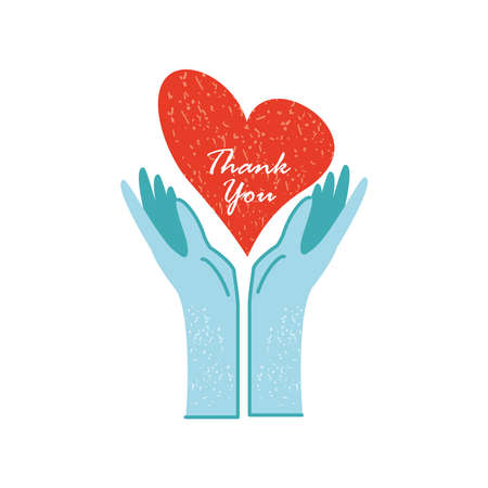 thank you, medical gloves and heart love vector illustration