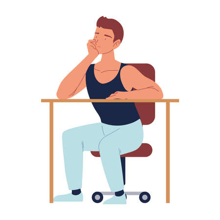bored man sitting on the chair with desk, procrastination vector illustration isolated design 矢量图像