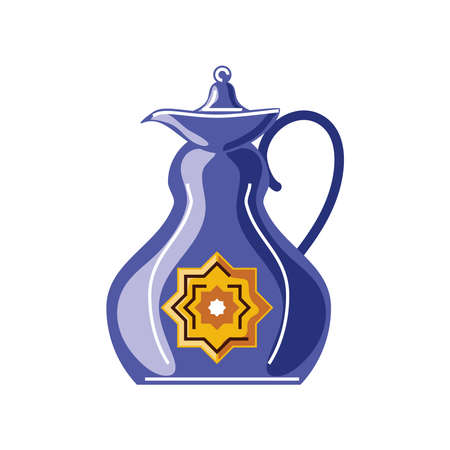 traditional antique decorated teapot vector illustration cartoon isolated style