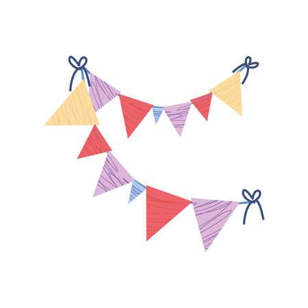 pennants festive decoration celebration vector illustration cartoon icon isolated style