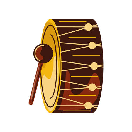 drum musical instrument with drumstick vector illustration cartoon isolated style