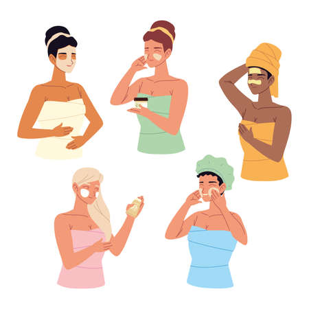 young women wrapped in a towel, applies different types of cosmetic masks on her face, skincare vector illustration