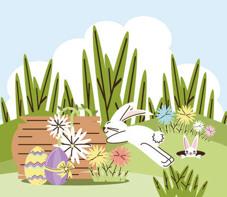 happy easter rabbits flowers and eggs in the grass vector illustration cartoon