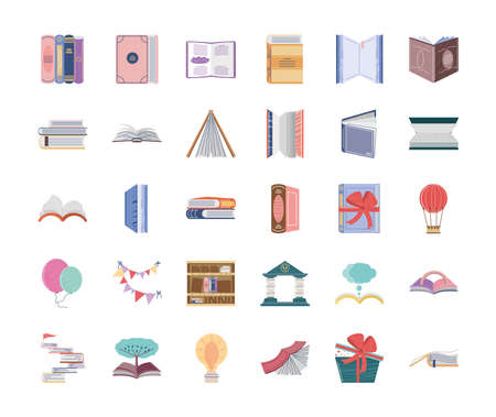 set book, education academic literature learn and read concept vector illustration