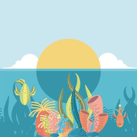 underwater world sunset ocean fishes coral and algae vector cartoon illustration