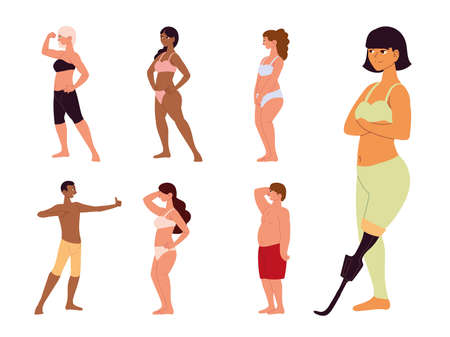people self acceptance characters standing