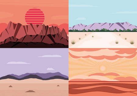 landscape desert arid nature set