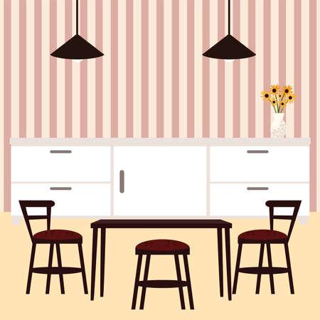 dining room furnitures lamp flowers Vector Illustration