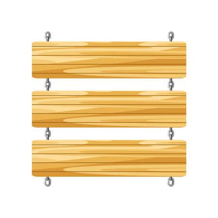 empty wooden board sign hanging Vetores