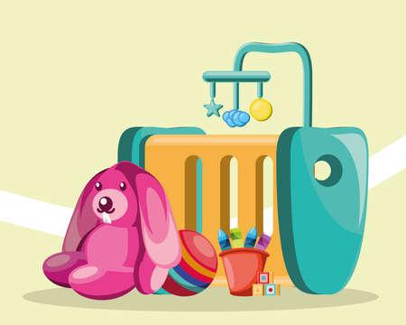 nursery crib rabbit ball cartoon