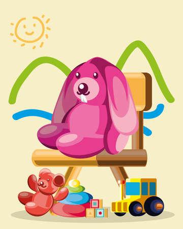 toys drawing bunny bear chair Ilustración de vector