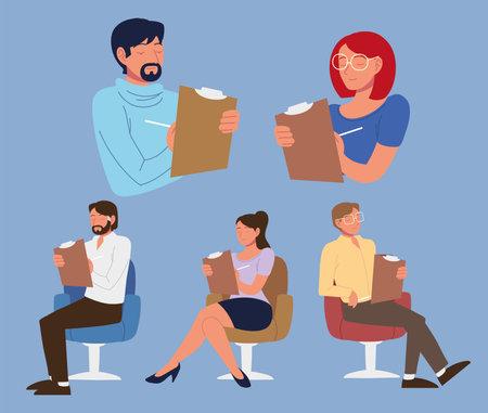 psychologists professional staff male female Vektorové ilustrace