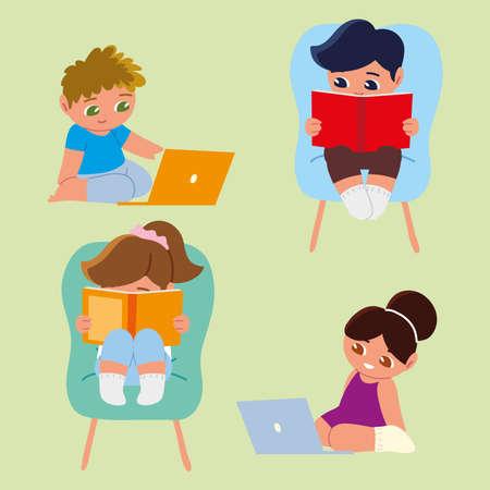 little kids studying book laptop