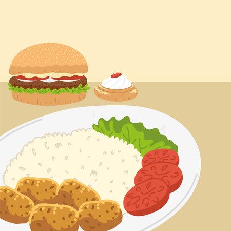 hamburger and plate, arabic food kitchen design