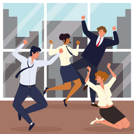 jumping business people celebrating office