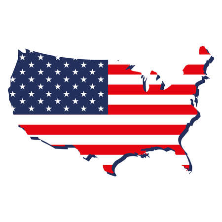 USA map and flag isolated design Vetores