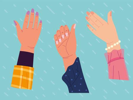 raised hands with manicure Ilustración de vector