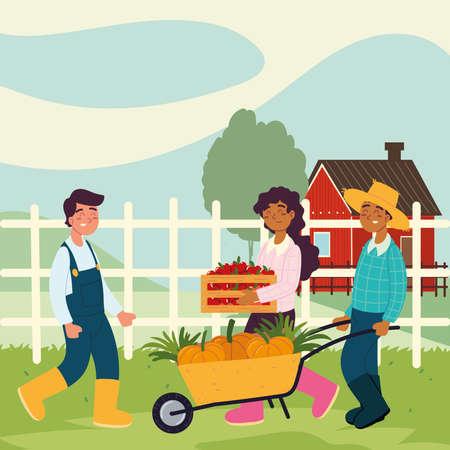 farmers with wheelbarrow food
