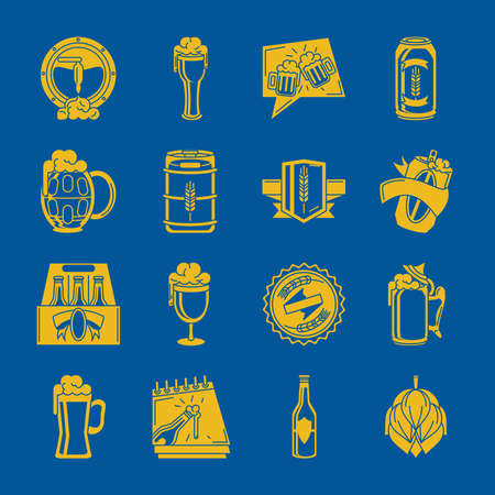beer drink icon set