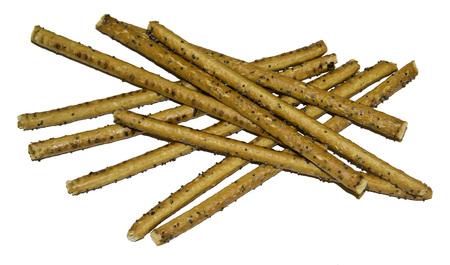 sesame cracker: Bread sticks with poppy seeds isolated on white background