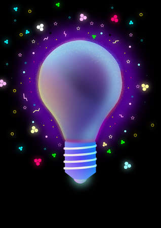Power outage at night concept, glowing light bulb Stock Photo