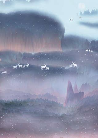 illustration of sika deers