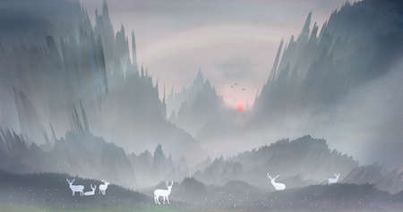 The morning sun rises and the sika deer in the forest play happily in the mountains and waters.