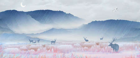 Under the snowy mountain, the sika deer is resting on the lake and drinking water, playing in the fairyland scenery.