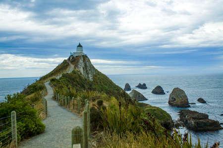 Kaka point lighthouse in New Zealand Stock fotó