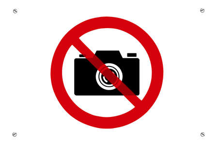 not allowed: No photos prohibition sign with screws