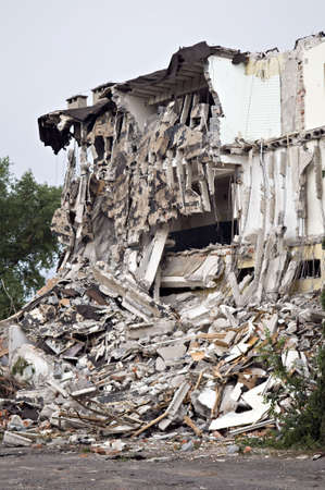 house demolition: Destroyed building, can be used as demolition, earthquake, bomb, terrorist attack or natural disaster concept. Series