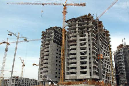 man made: Construction site on a man made palm island Jumeira in Dubai, UAE Stock Photo