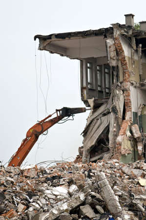 tremor: Destroyed building, can be used as demolition, earthquake, bomb, terrorist attack or natural disaster concept. Series