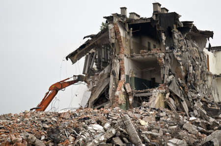 bombed: Destroyed building, can be used as demolition, earthquake, bomb, terrorist attack or natural disaster concept. Series