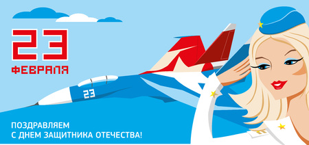 russian girl: 23 february holiday army day in Russia vector card with military jet fighter and pretty blonde female soldier Illustration