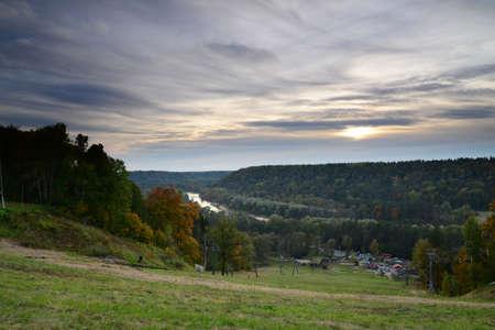 sigulda: Shining sunset in Sigulda  Autumn scene Stock Photo