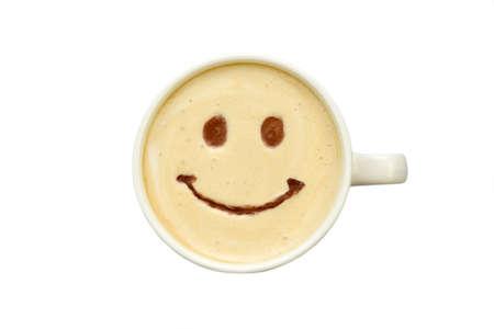 latte art - geïsoleerde kopje koffie met een glimlach Stockfoto