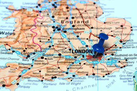 London pinned on a map of europe photo