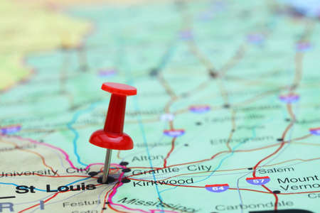 push in pins: St Louis pinned on a map of USA
