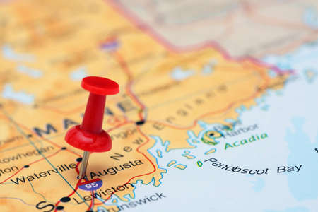 augusta: Augusta pinned on a map of USA Stock Photo