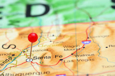 mexico culture: Santa Fe pinned on a map of USA